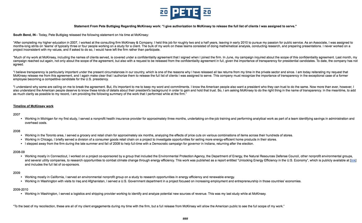"""New: @PeteButtigieg details his client work for @McKinsey (+requests the firm release detailed list of his clients): """"I never worked on a project inconsistent with my values, and if asked to do so, I would have left the firm rather than participate."""""""