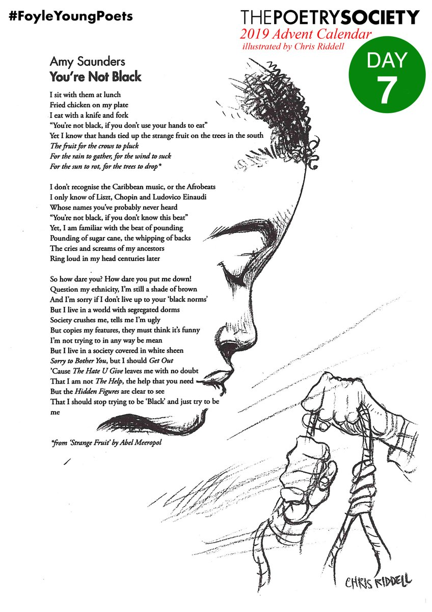 test Twitter Media - Sorry to Bother You, but I should Get Out 'Cause The Hate U Give leaves me with no doubt That I am not The Help, the help that you need  7 Dec's #FoyleYoungPoets Advent Calendar: Amy Saunders meshes personhood and pop culture in 'You're Not Black' @youngpoetsnet  @chrisriddell50 https://t.co/JEElPBEDWB
