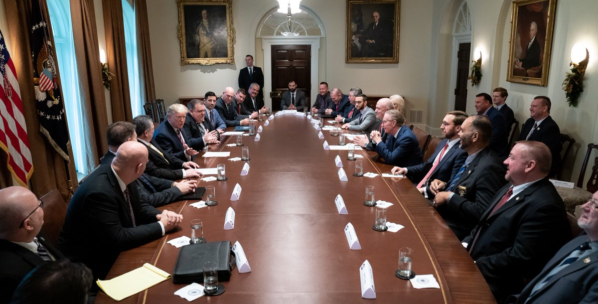 President Donald J. Trump attends a drop-by meeting with the Fraternal Order of Police leadership members | Friday, Dec. 6, 2019, in the Roosevelt Room of the White House.