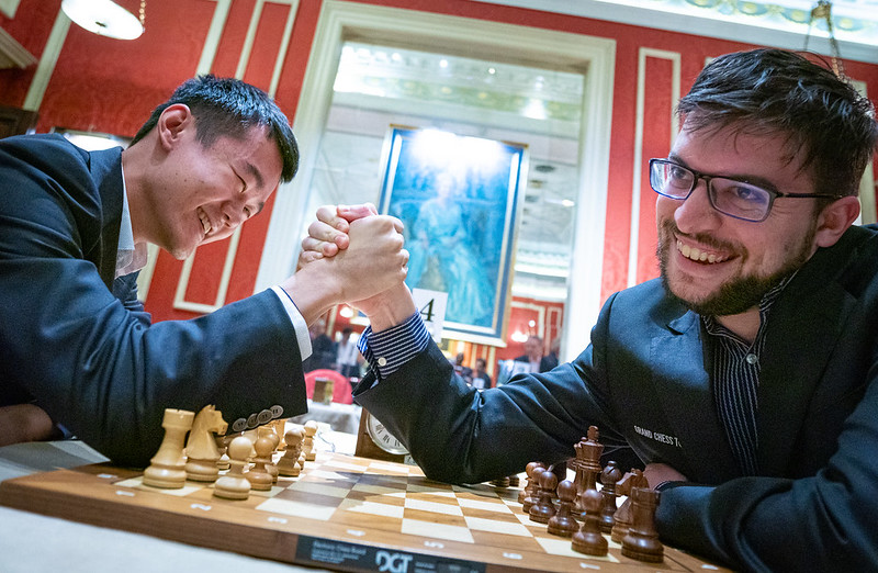 test Twitter Media - Neither arm-wrestling nor 4-queen endgames can separate Ding Liren & MVL for now, but Carlsen took the lead against Aronian! https://t.co/mnW3O2Xh3e  #c24live #GCTFinals https://t.co/5lJuqUHvvg