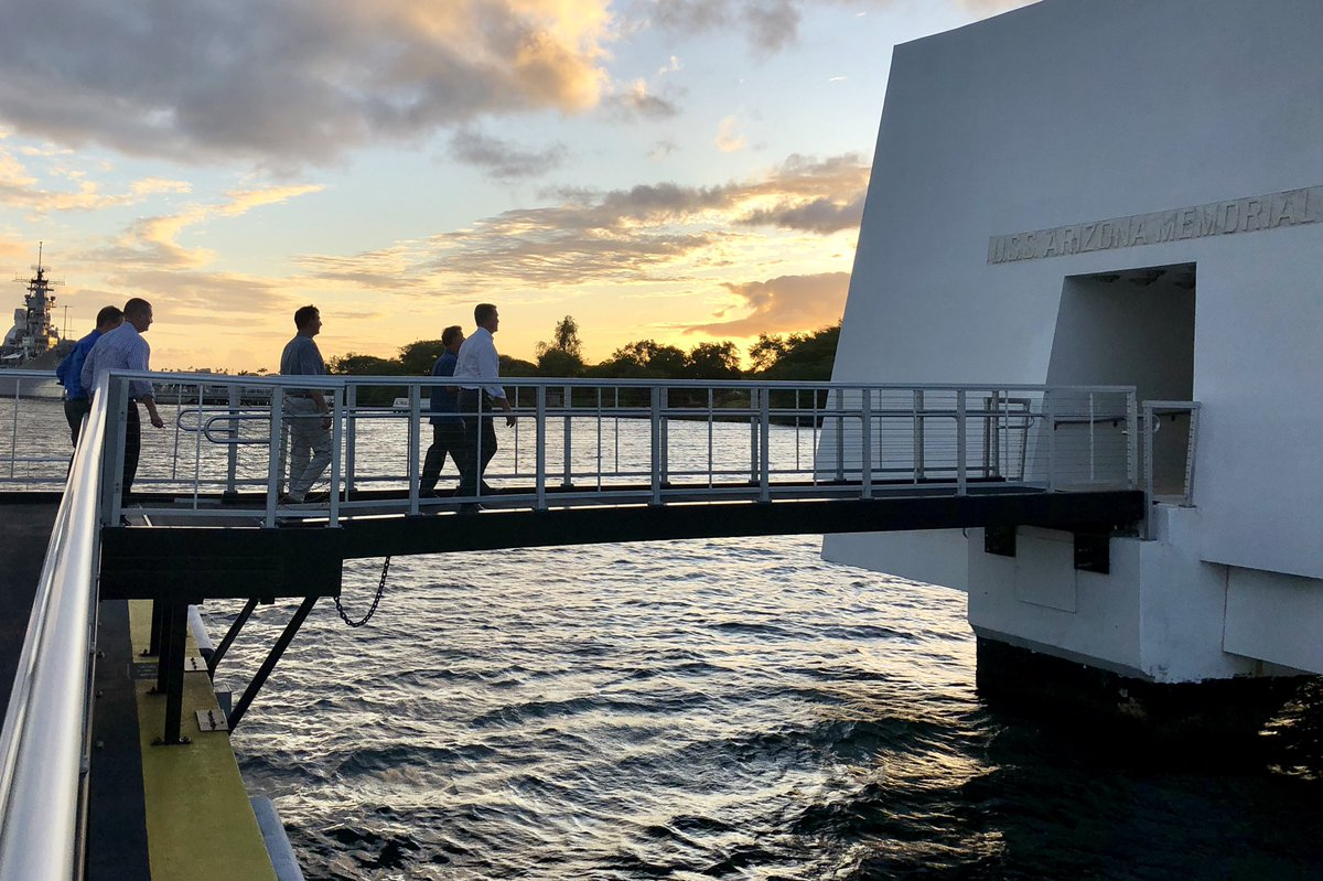 I recently visited the USS Arizona Memorial with @USNavy and paid my respects to the servicemembers who lost their lives on Dec. 7, 1941. Their sacrifices will never be forgotten. #PearlHarborRemembranceDay