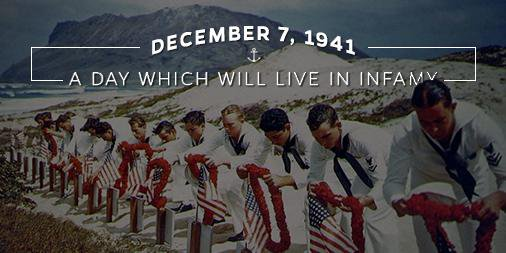 Today we honor the memory of the men, women, and children who were lost at Pearl Harbor on December 7, 1941—a date which will live in infamy.