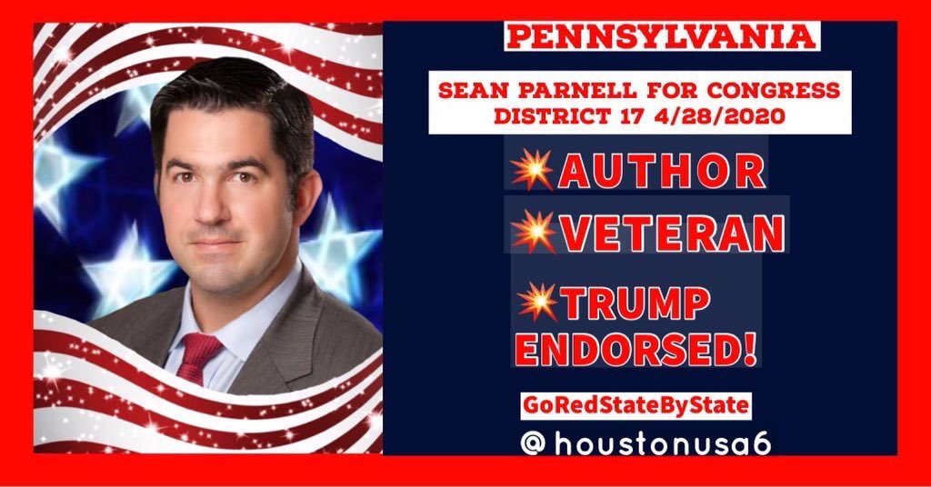 TRUMP ENDORSED @SeanParnellUSA is running for Congress in Pennsylvania 17th District.  This Gentleman is the real deal! JOIN the team! Go to>>>  #GoRedStateByState  #Trump2020 #SeanParnell #VoteRedToSaveAmerica