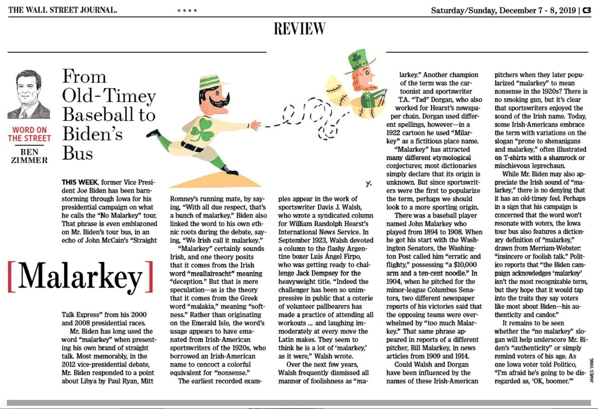 "test Twitter Media - In this weekend's @WSJ Review section: Joe Biden's favorite word, ""malarkey,"" has a murky past, but it may have been concocted by sportswriters in the 1920s riffing off an Irish name. https://t.co/3ljXpGwZGm https://t.co/9ZgAeVHy8b"