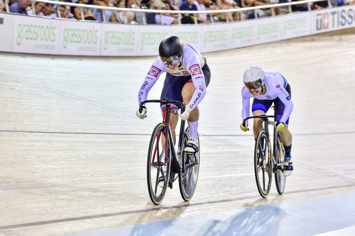 test Twitter Media - After a tough day of sprinting yesterday, Kelsey Mitchell & Lauriane Genest power through the first round of the Keirin & make it to round 2⃣ tonight!  #TissotUCITrackWC https://t.co/tpxEzR1v7C
