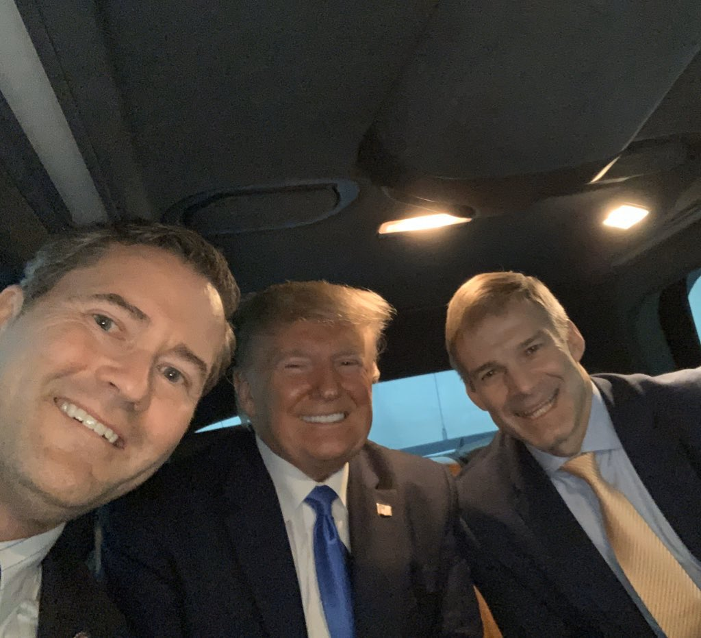 Not your average car ride! Keeping America great with @realdonaldtrump and @Jim_Jordan in Florida tonight! 🇺🇸