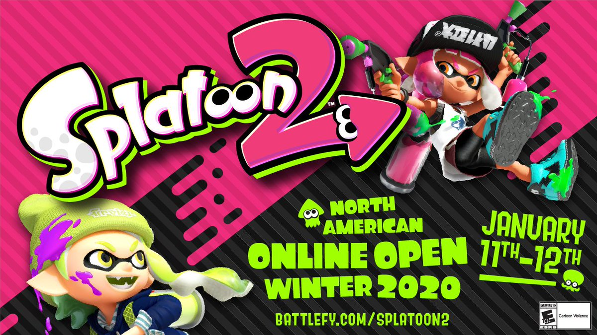 There's only one more week until the #Splatoon2 NA Online Open Winter 2020 kicks off! Get your squid squad or octo organization together and register today for a chance to win a trip to California & compete @Genesis_Smash!