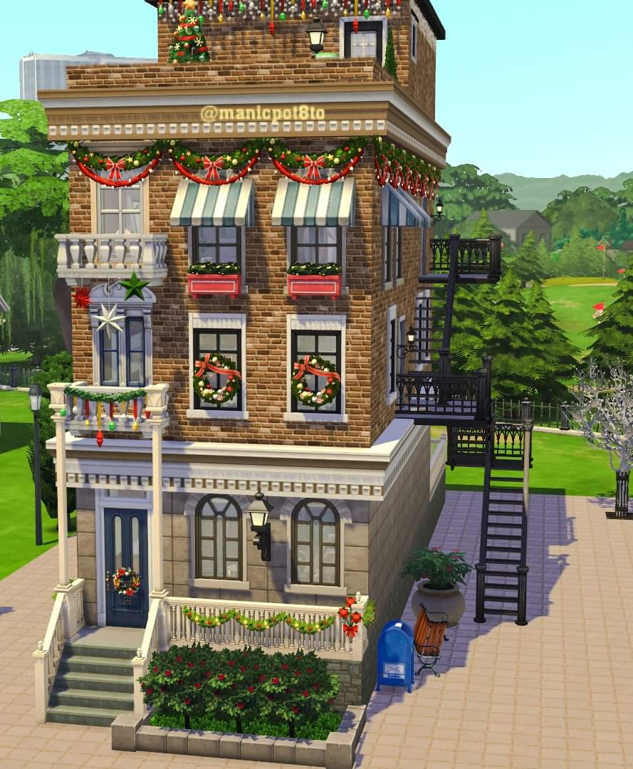Trying to do some themed builds...here is my decked out apartment building...I know it makes me feel merry.. Parkside Brownstone in gallery cc free..OID:manicpot8to @TheSims @SimsVIP @SimsCreatorsCom #sims4university #sims #ShowUsYourBuilds https://t.co/bLuLU5YRvO