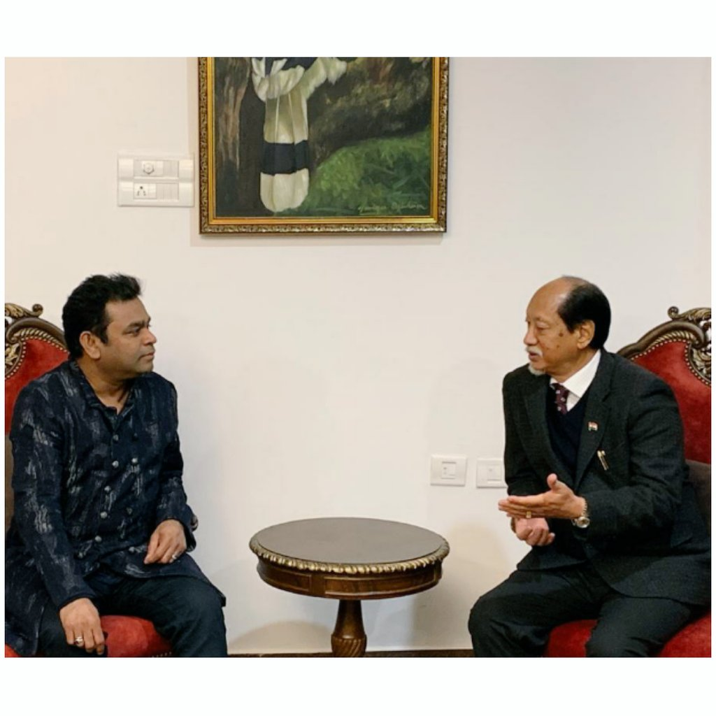 Welcome to #Nagaland, Dr. A.R. Rahman @arrahman. I hope you have a memorable experience at the #HornbillFestival2019.  #FestivalOfFestivals. #ekbharatshreshthabharat @KMMC_Chennai @MusicTask @abumetha @MmhonlumoKikon @MyGovNagaland @tournagaland17