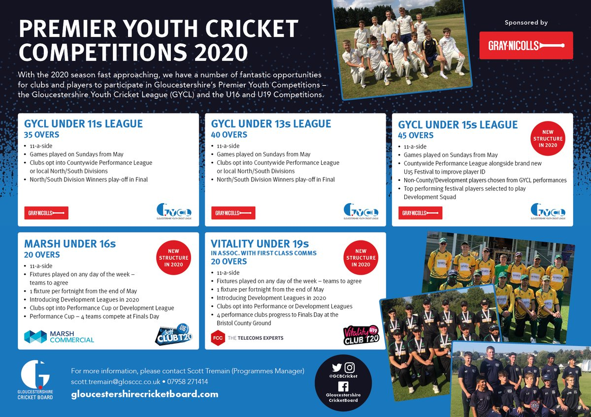 test Twitter Media - 📣Entries Now Open- 2⃣0⃣2⃣0⃣Premier Youth Cricket Competitions📣  Gloucestershire Youth Cricket League (Under 1⃣1⃣, 1⃣3⃣ & 1⃣5⃣) and Under 1⃣6⃣ & 1⃣9⃣ T2⃣0⃣.  Exciting new structures at U15, U16 and U19.  More information... 🔗https://t.co/UYzy51csWO https://t.co/rXRlxrqDXN