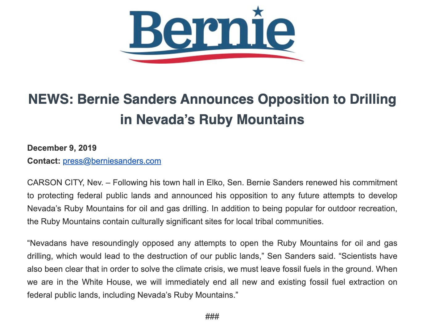 .@BernieSanders comes out against oil and gas leasing in the Ruby Mountains after an event in Elko yesterday. There have  been multiple requests to open up areas of the range to oil exploration, despite difficult geology. https://t.co/SHKxCPAF1r