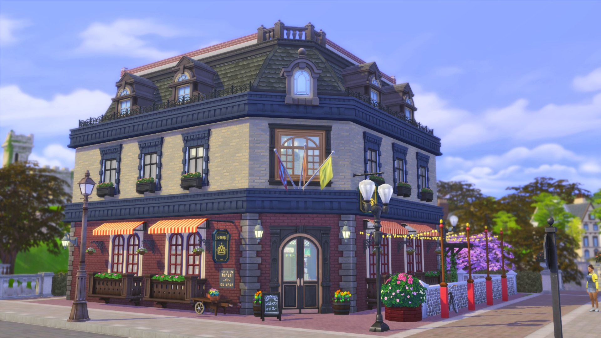 Finished my Britechester pub tonight, will playtest tomorrow before uploading.  Cheers! #ShowUsYourBuilds #TheSims4 https://t.co/Z7hoio5eCA