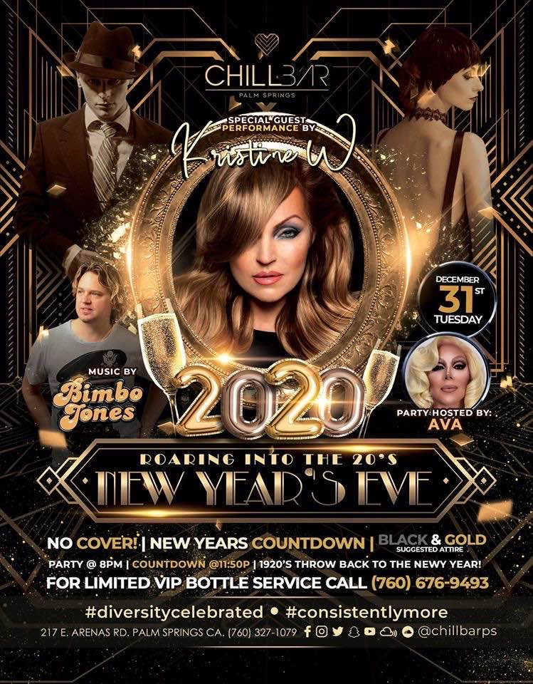 This is the Event to be at to bring in 2020!! The Epic Roaring into the 20's party like only CHILL in Palm Springs can do. I'm so excited to be heading back to Palm Springs for New Year's Eve, along with my amazing friend @LeeDagger of Bimbo Jones. Meet me on the dance floor! KW
