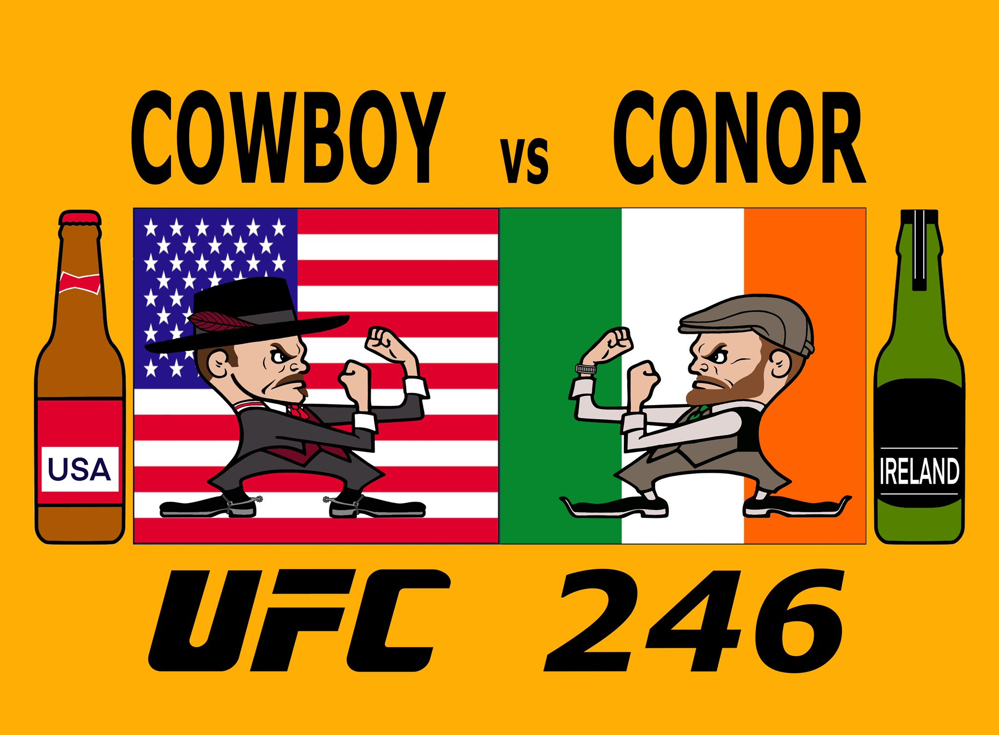 I am SO EXCITED for @Cowboycerrone vs @TheNotoriousMMA that I made my own @ufc promo poster for it.  It all started with a nod to the Notre Dame leprechaun. 🙃  #UFC #UFC246 #CowboyVsConor https://t.co/To8GAVgNZG