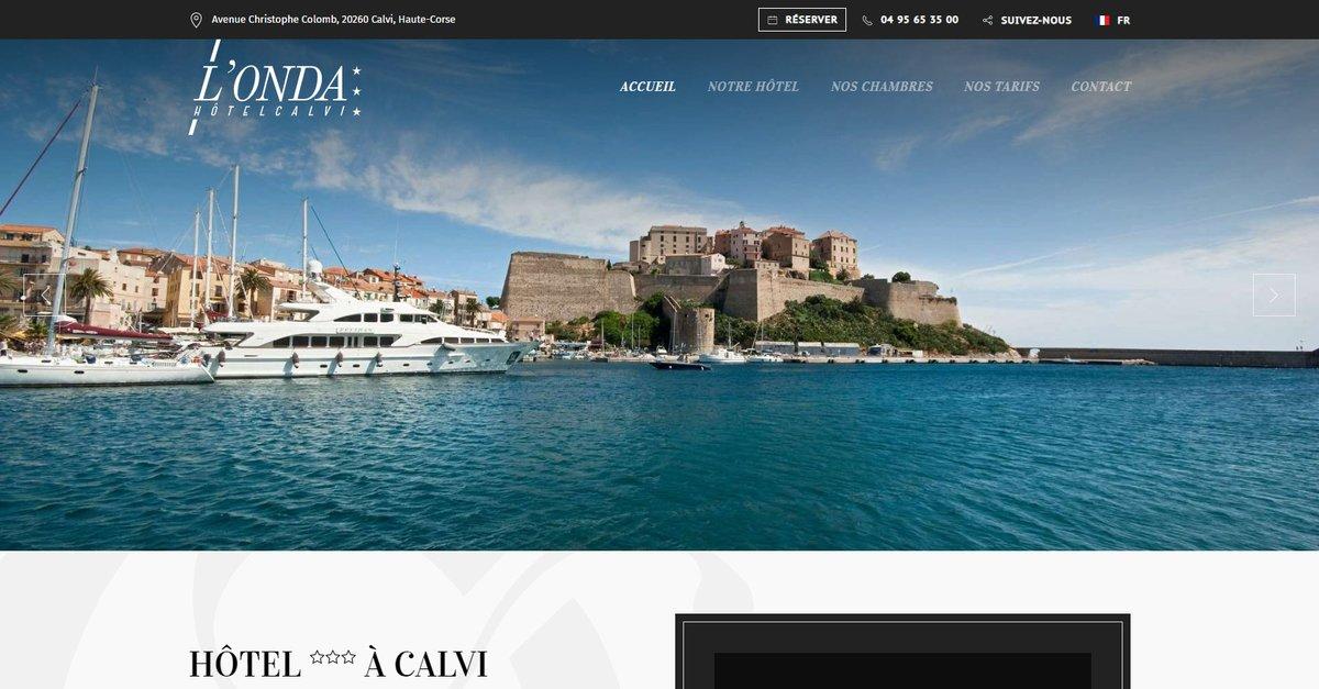 Création refonte du site de l'hôtel l'Onda à Calvi. Motorisé par #jooml...