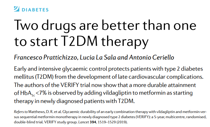 test Twitter Media - In our January issue, Antonio Ceriello et al discuss a paper from the VERIFY trial showing the beneficial effects of adding #vildagliptin to #metformin in patients newly diagnosed with type 2 #diabetes (£) https://t.co/OufmkFLKu4 #T2D #T2DM https://t.co/n5ZNnXN1RI
