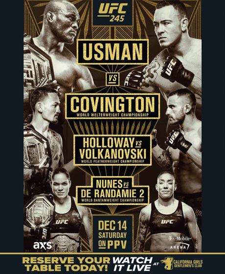 UFC 245 USMAN vs COVINGTON  HOLLOWAY vs VOLKANOVSKI  NUNES vs DE RANDAMIE  DECEMBER 14 ON PPV  RESERVE YOUR TABLE TODAY! #CaliGirls #Anaheim #FightNight #Fight #UFC #UFC245 #PPV #Rhino #Style #Girls #GentlemensClub https://t.co/ak7mIVz2Yf