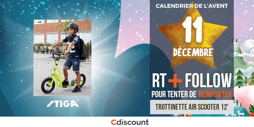 """JOUR 11 🎁 À gagner pour le #CalendrierDeLAventCdiscount : Une Trottinette Air Scooter 12"""" STIGA 🍀 👉 Pour tenter votre chance : RT ce tweet + Follow @Cdiscount  Tirage au sort :13 /12🕒 Règlement:"""