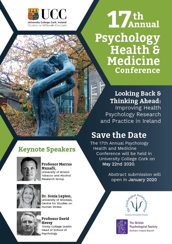 test Twitter Media - SAVE THE DATE! The 17th annual @PSI_DHP @DHPNI Psychology Health and Medicine conference will take place in @UCC on May 22nd 2020 with an excellent line-up of speakers @MarcusMunafo @LupienSonia & David Hevey @UCCPublic Health @AppPsychUCC https://t.co/Yv7AuOhND1
