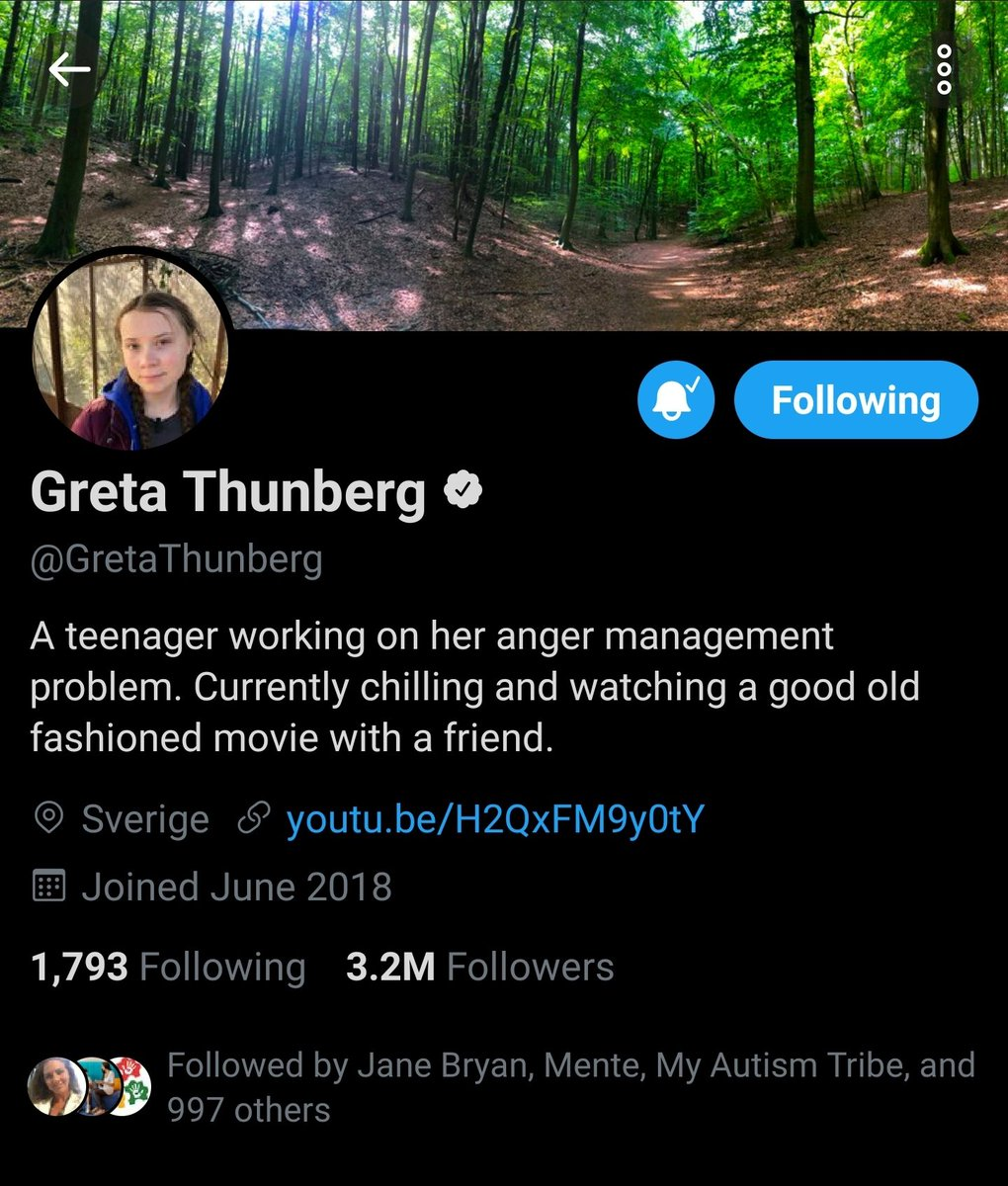 This is what it looks like when a 16 year old kid outsmarts and outclasses the President of The United States.  @realDonaldTrump just got done attacking and demeaning her on Twitter. Her response is priceless and in her profile. ☺ So much respect for @GretaThunberg. Well done.