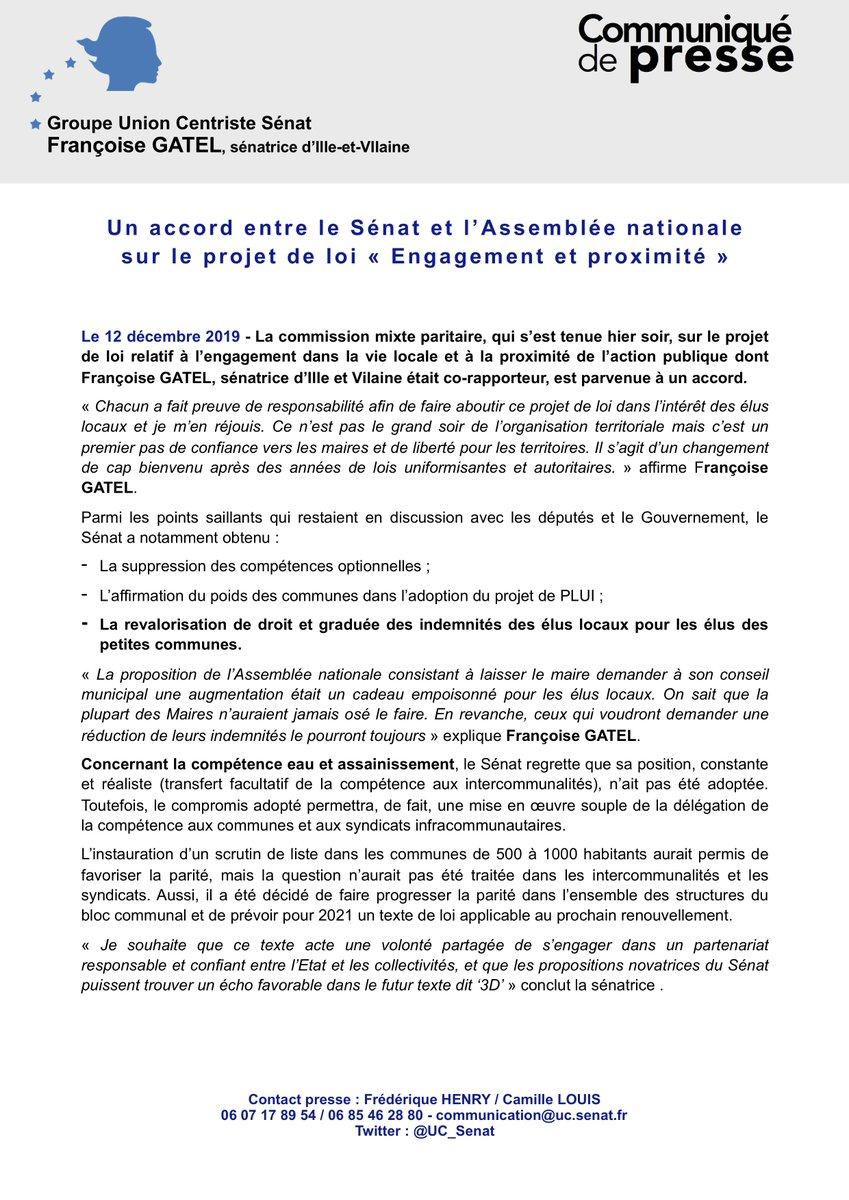 #COMMUNIQUÉ   Un accord entre le Sénat et l'Assemblée nationale   sur le projet de loi « Engagement et proximité »