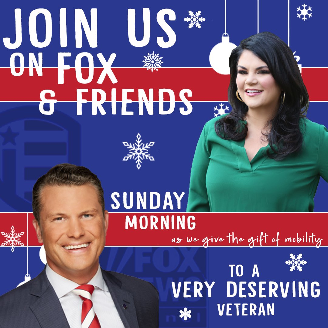 Can't wait to join our friend @PeteHegseth Sunday morning, along with our @FoxNews family. #BeAHeroForAHero @foxandfriends tune in as we join Pete Hegseth and FNC to give a wounded hero a track chair! @IndyFund
