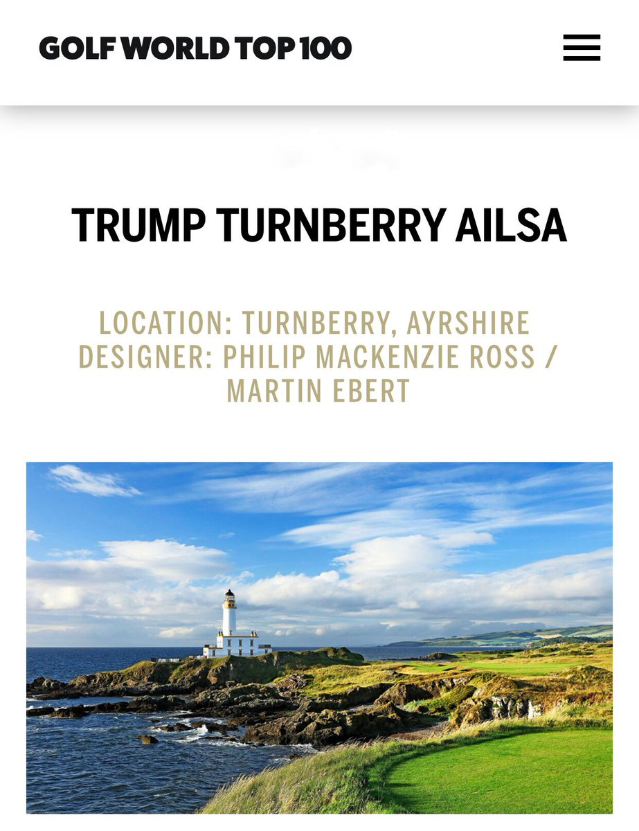 So proud of @TrumpTurnberry in Scotland and @TrumpDoonbeg in Ireland having just been rated the #2 and #4 best courses in the ENTIRE UK & Ireland by @GolfWorld magazine! What an incredible achievement! Congratulations team! #TrumpGolf #TrumpHotels #NeverSettle
