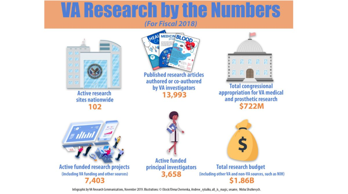 Want a quick overview of @DeptVetAffairs's nationwide #research program? Check out this new infographic with details on funding, projects, and more. #VAResearch #VeteransHealth