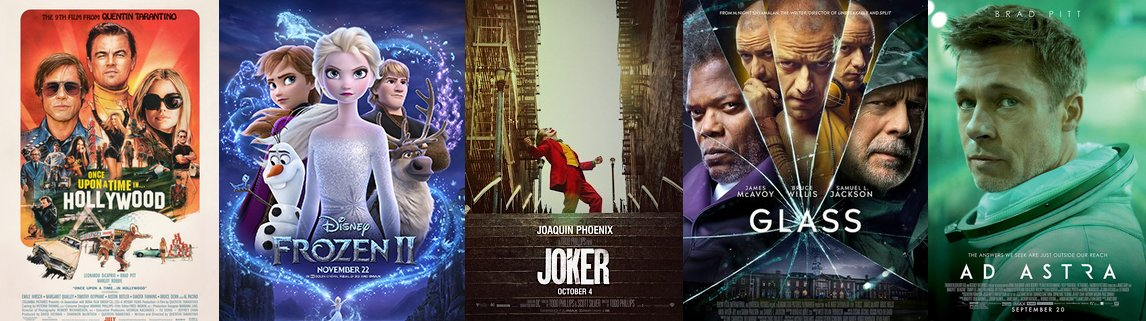 My top five favorite movies of 2019 1.Once Upon A Time In Hollywood 2. Frozen II 3. Joker 4. Glass 5. Ad Astra 🎞️
