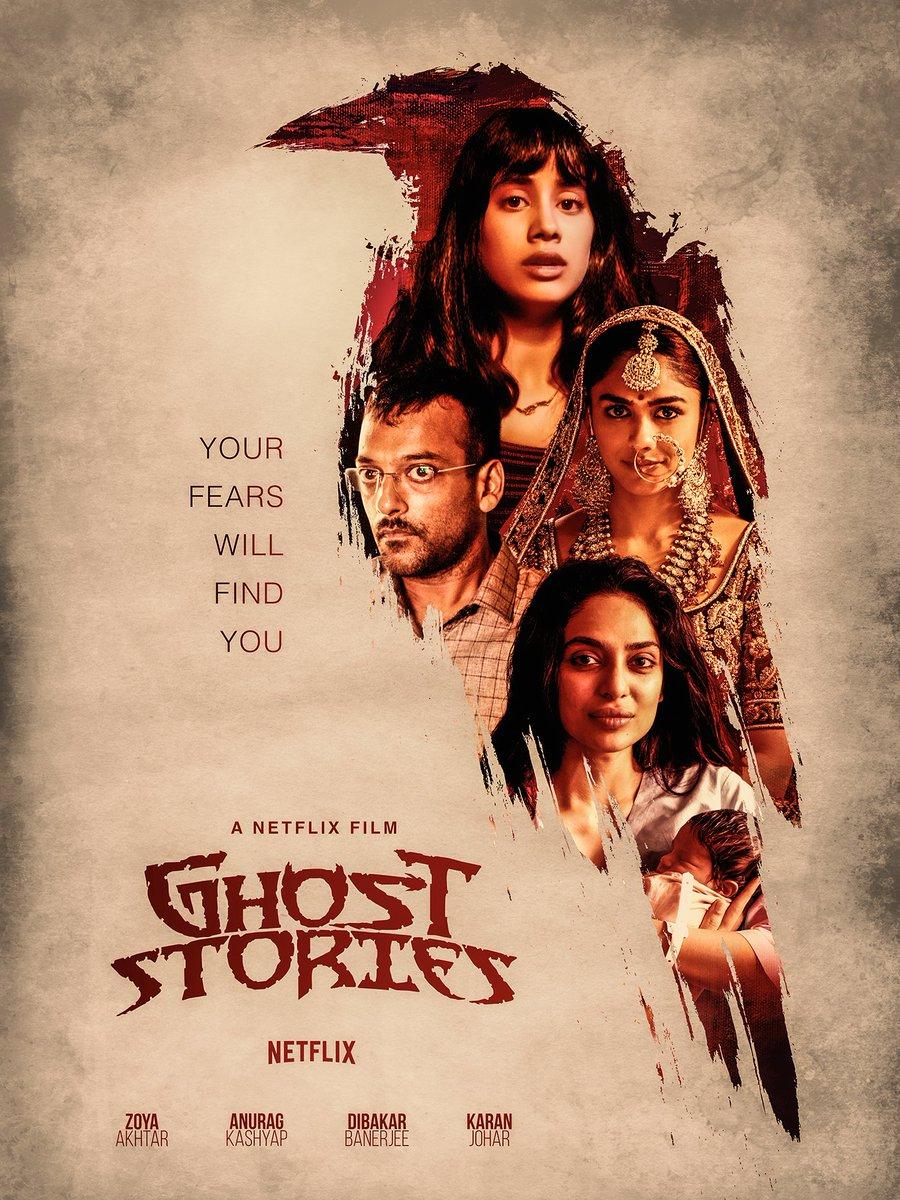 My next & first Bollywood project...  #GhostStoriesPoster #YourFearsWillFindYou #GhostStories @netflix @netflixindia @karanjohar @anuragkashyap72 #ZoyaAkhtarOff #DibakarBanerjee #JanhviKapoor @sobhitaD @mrunal0801 @gopiprasannaa