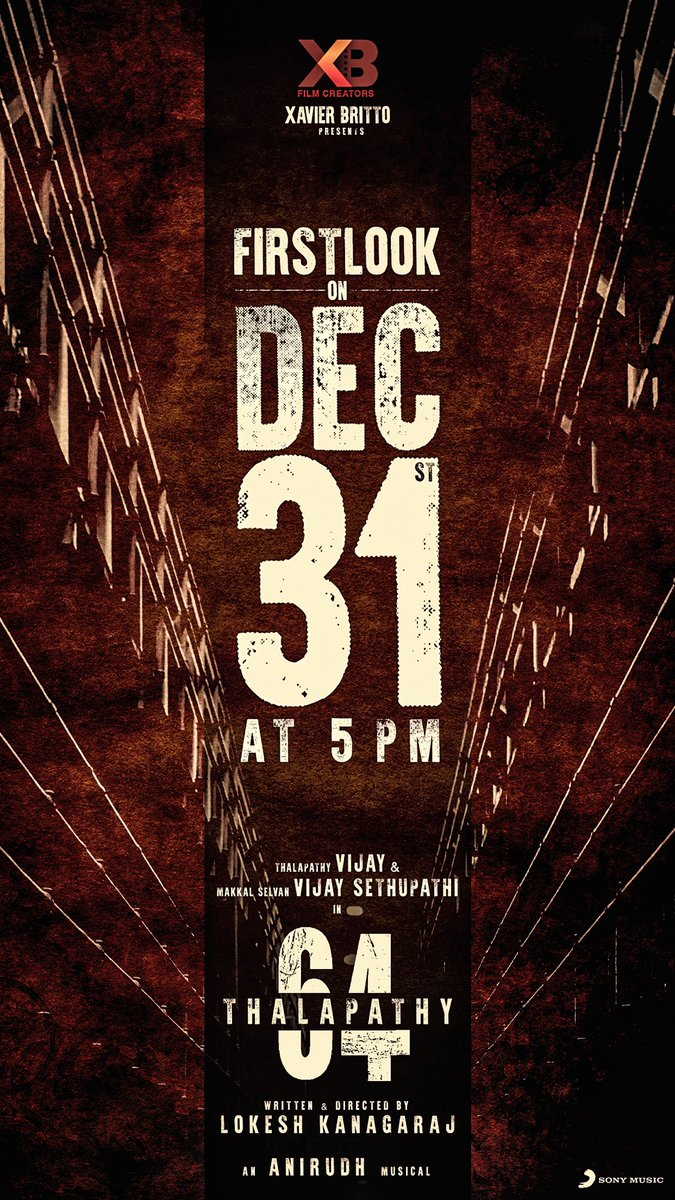 #Thalapathy64FirstLook  on Dec 31st 5pm