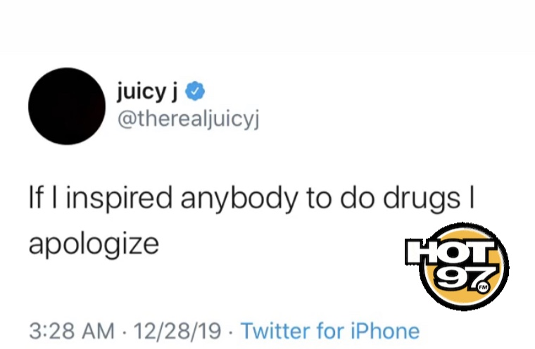 #JuicyJ is apologizing if he inspired anyone to do drugs, thoughts on his statement? 💭⤵️ https://t.co/z9wEQnulBg