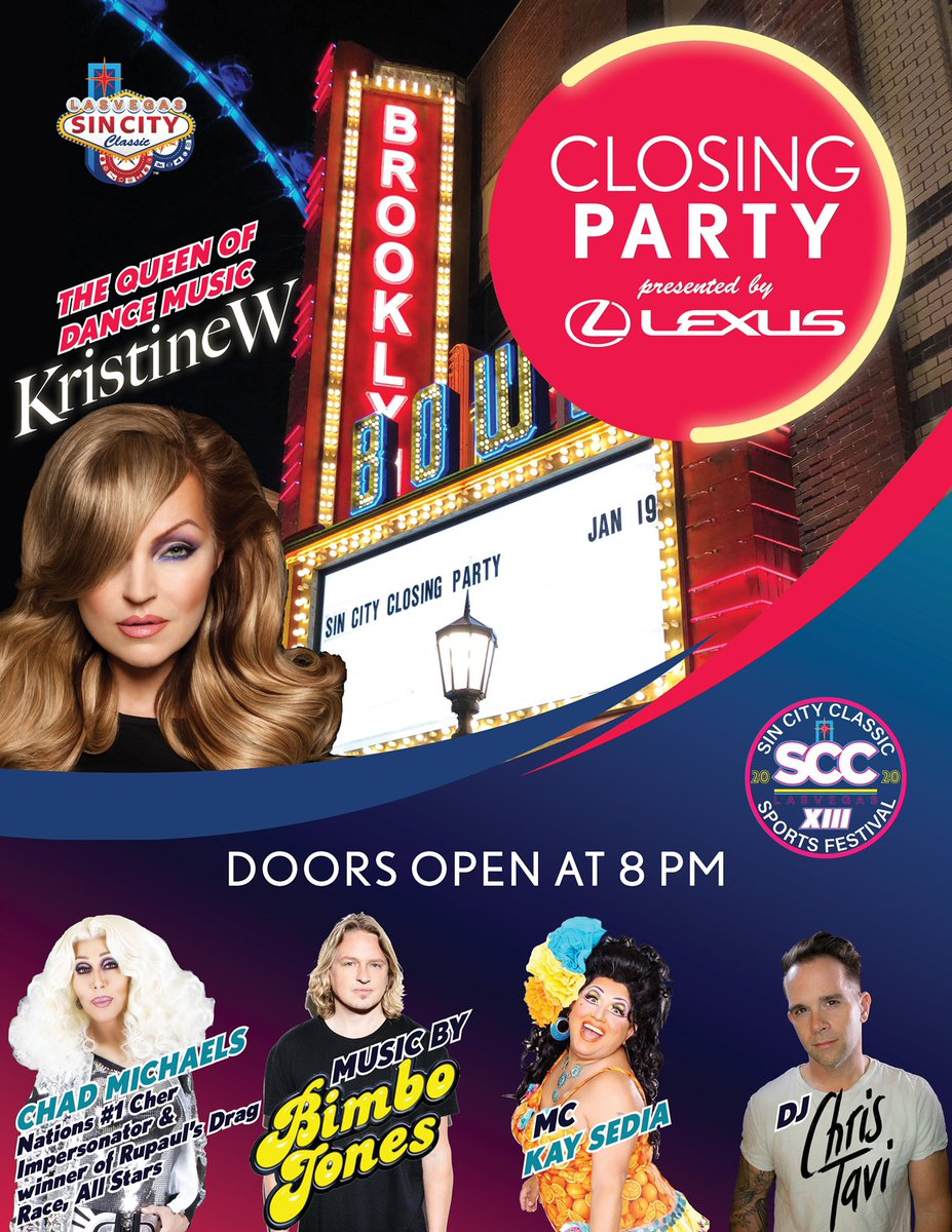 Get ready to party! 🎉 Here's the lineup for the #SinCityClassic closing party next month!    Performances by: @KristineWmusic  @ChadMichaels1  Bimbo Jones: @MarcJB & @LeeDagger  @kaysedia1  @DjChrisTavi   🎊