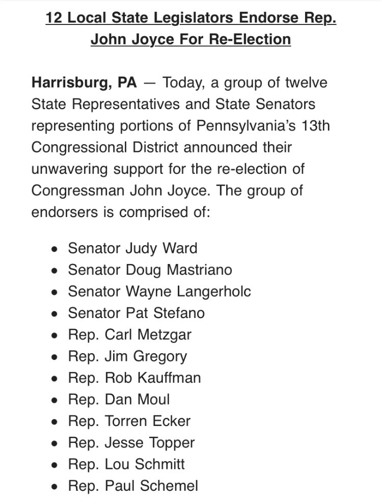 It is an honor to have the support of these friends. All of us work together to deliver results for our constituents in southcentral Pennsylvania, and I am looking forward to continuing this fight alongside them. #PA13
