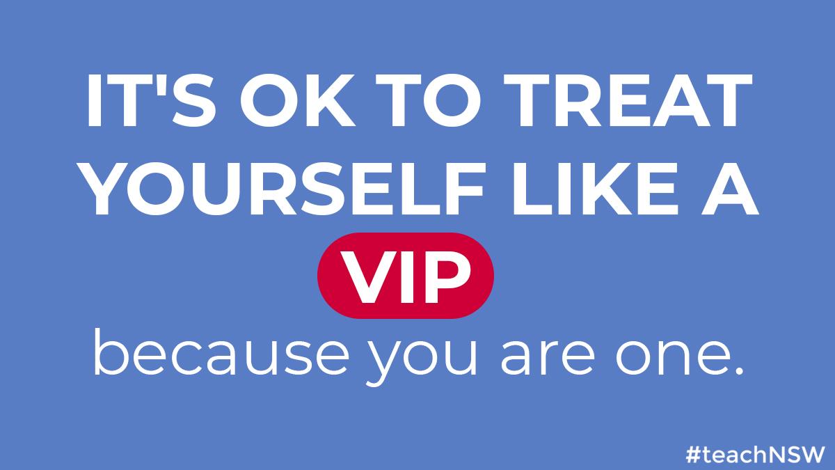 Make sure you take time to treat yourself over the holiday period.  #teachNSW #treatyoself #holidays #VIP #teacherVIP #treatyourself https://t.co/6CqE3ReUMO