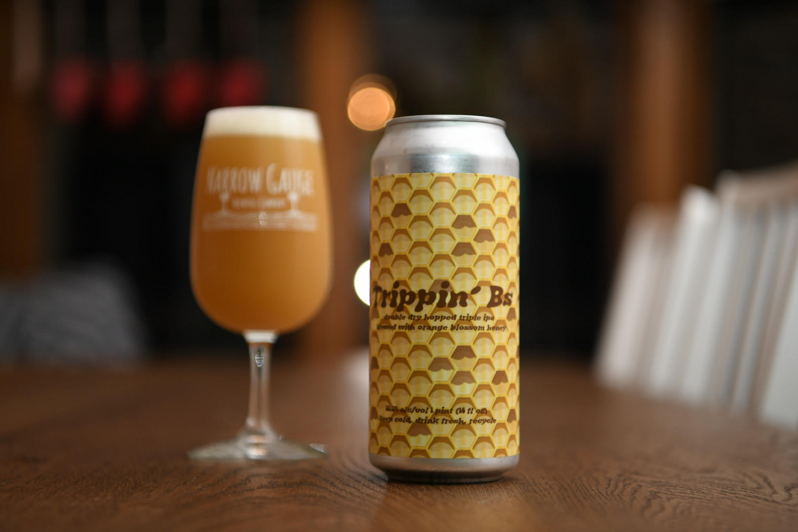 Available tomorrow (12/27) at 11am:  -Trippin' Bs (Our collaboration with @trippinganimalsbrewing - Double dry hopped triple IPA brewed with orange blossom honey•10% ABV•70 IBU)  #narrowgaugebeer x #trippinganimalsbrewing #stlcraftbeer https://t.co/77Q0QNNPhM