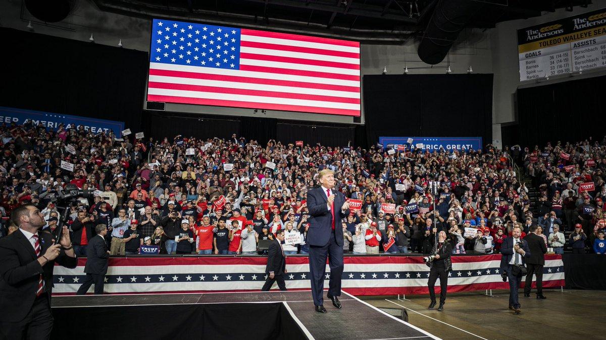 President @realDonaldTrump in Toledo, Ohio tonight...  Together, WE WILL MAKE AMERICA WEALTHY AGAIN...  WE WILL MAKE AMERICA STRONG AGAIN...  WE WILL MAKE AMERICA PROUD AGAIN...  WE WILL MAKE AMERICA SAFE AGAIN...  AND WE WILL MAKE AMERICA GREAT AGAIN!!!   #MAGA #KAG2020🇺🇸🇺🇸