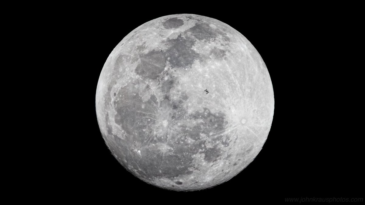 Wow! I got it!  The International @Space_Station, orbiting Earth at 17,500mph, transits the full moon this evening, as seen from near Paynes Prairie Preserve in Florida.  The window to capture this transit lasted a mere *0.58 seconds.* #SpotTheStation