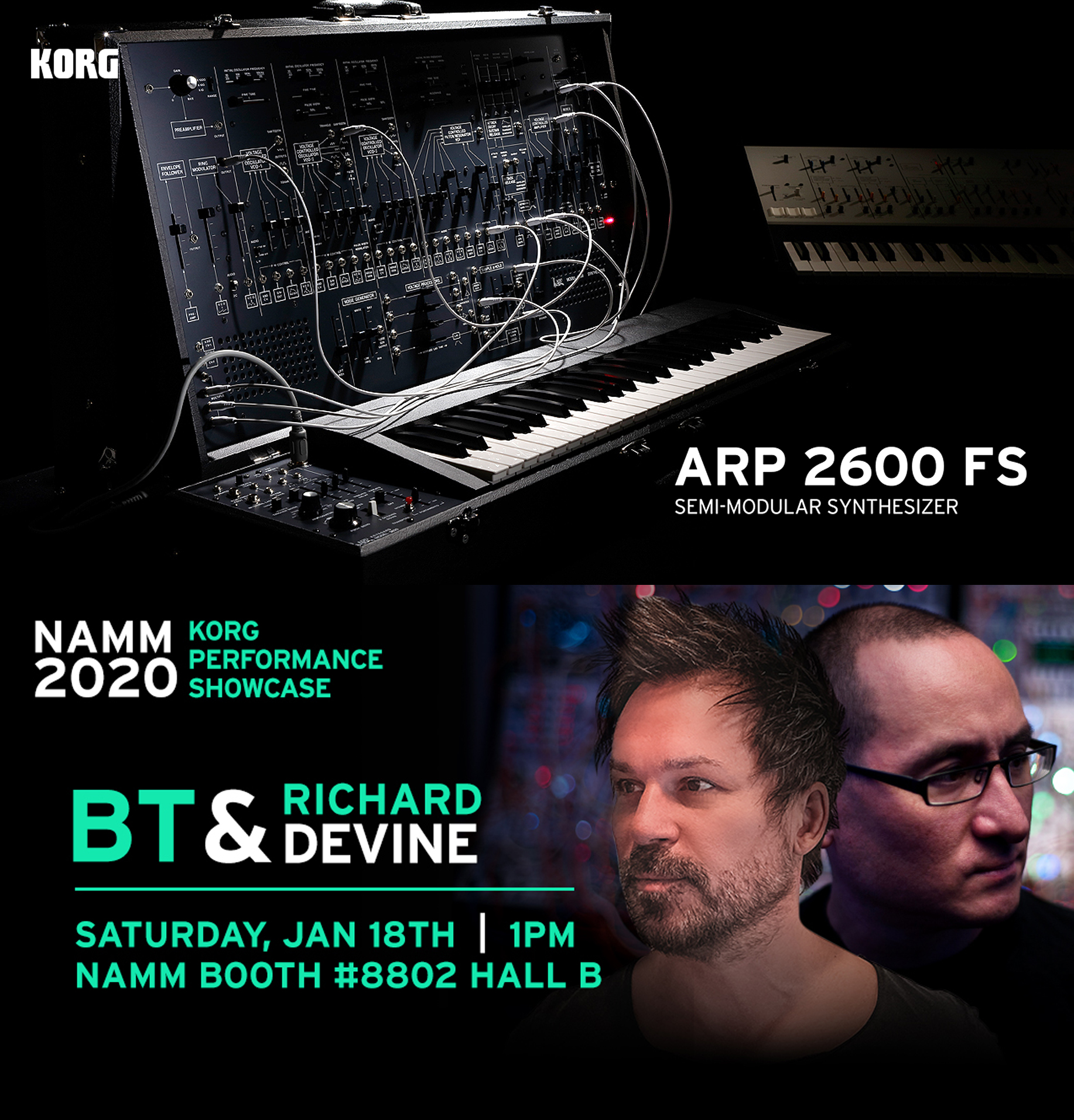 Saturday at NAMM, 1PM January 18th catch Brian Transeau and I do a special performance at the @KorgUSA  booth using the new Arp-2600 modular synths. Booth #8802 Hall B https://t.co/L0U32THHl7