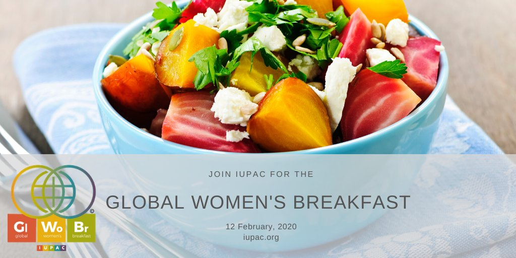 Take time to strenghthen the bonds with those around you. Join #iupac for the Global Women's Breakfast on 12 Feb. Begin planning your breakfast event today. Registration to open soon. #GWB2020 @IntlYoungerChem @EuChemS @RoySocChem @RACInational @AmerChemSociety