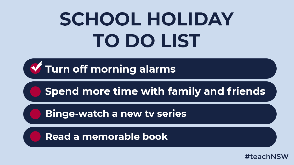 We hope you find time these holidays to relax and recharge, ready for the new school year. What's on your holiday to-do list?           #teachNSW #holidaygoals #relax #recharge https://t.co/61fBPNarIk