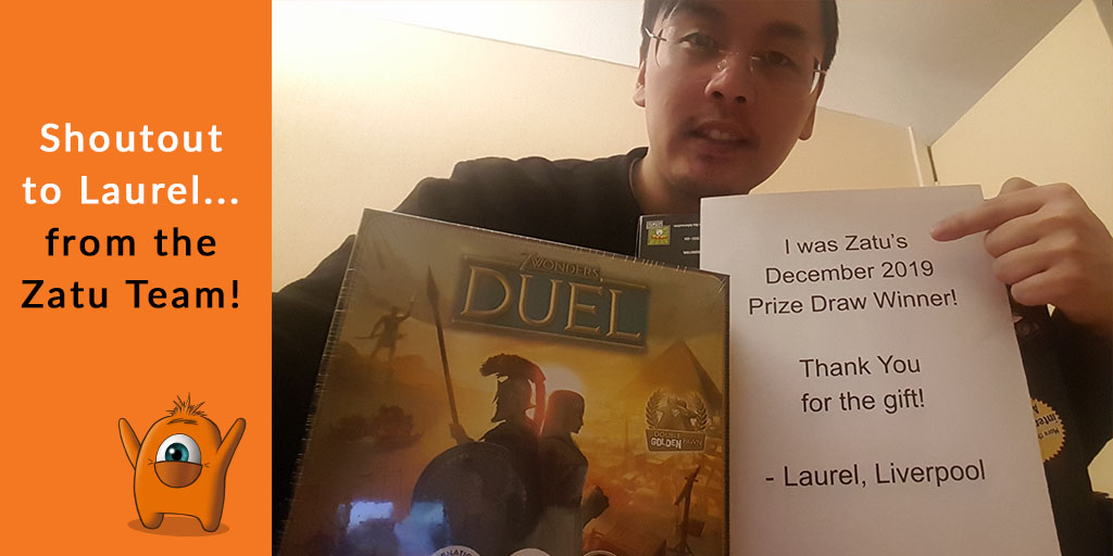 Shoutout to Laurel! This month we sent out a free copy of 7 Wonders Duel to Liverpool in the UK... The Zatu team are super happy that you like the prize😄 https://t.co/r1Botyz6kc