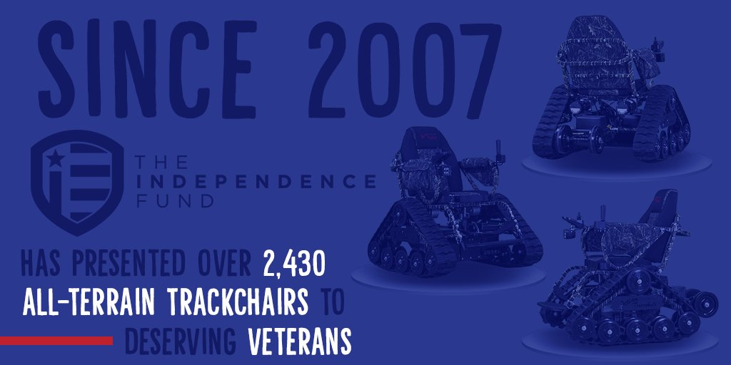 Since 2007, The Independence Fund has provided over 2,430 All-Terrain, Tracked Wheelchairs to the Nation's catastrophically wounded warfighters and their families. We are proud of this figure and proud to represent the generous donors who have made it possible.