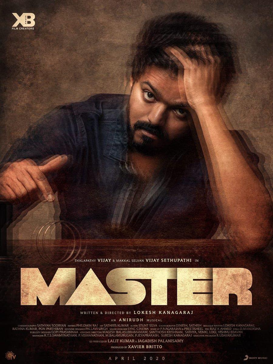 #Master First Look yae Summa Gaeraaaaaa iruku🤩🤩 Loving it & Admiring this Classy Mass @actorvijay na!! So happy for my dearest brothers @Jagadishbliss 😍 @Lalit_SevenScr @Dir_Lokesh @anirudhofficial @imKBRshanthnu @gopiprasannaa @MalavikaM_ & team