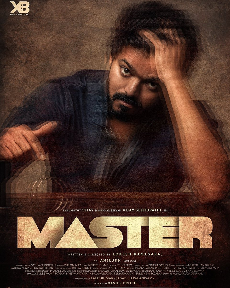 The first look of Thalapathy 64 - MASTER is out. Feels surreal to see our names on a Vijay Anna film first look. Thank you @Dir_Lokesh, @Jagadishbliss, Lalit sir and Britto sir for this honor. #Teamlokeshkanagaraj #Master #Thalapathy64  #Thalapathy64FLday