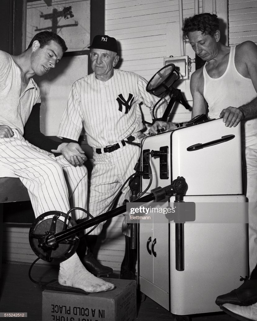 "DiMaggio has his injured heel checked in 1949 with the best technology of the day. I'm questioning the background of the ""doctor."" #yankees https://t.co/FQu8pn8dSr"