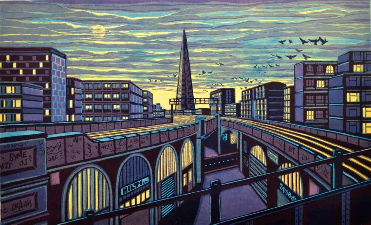 Some High, Lonely Tow'r, 2018 by UK printmaker Gail Brodholt, known for her depictions of the London transport and urban landscapes #womensart https://t.co/9D9WgZwTmY