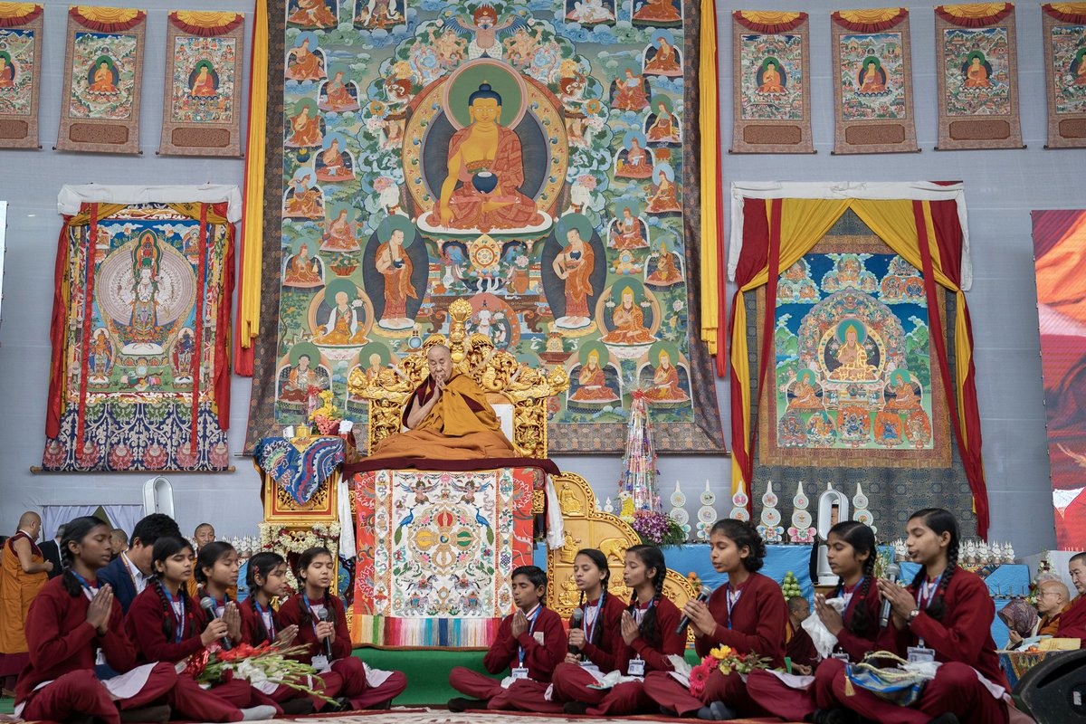 "Students from Maitreya School chanting the ""Heart Sutra"" in Sanskrit at the start of HHDL's teaching at the Kalachakra Teaching Ground in Bodhgaya, Bihar, India on January 2, 2020. (Photo by Tenzin Choejor)"