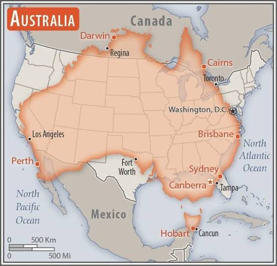 Quiet reminder that when you look at a map of the world, the country sizes on the atlas are not accurate or to scale.   Australia has almost the same land mass as the United States, and we are on fire.  We need your outrage. We need your support.  We are burning.