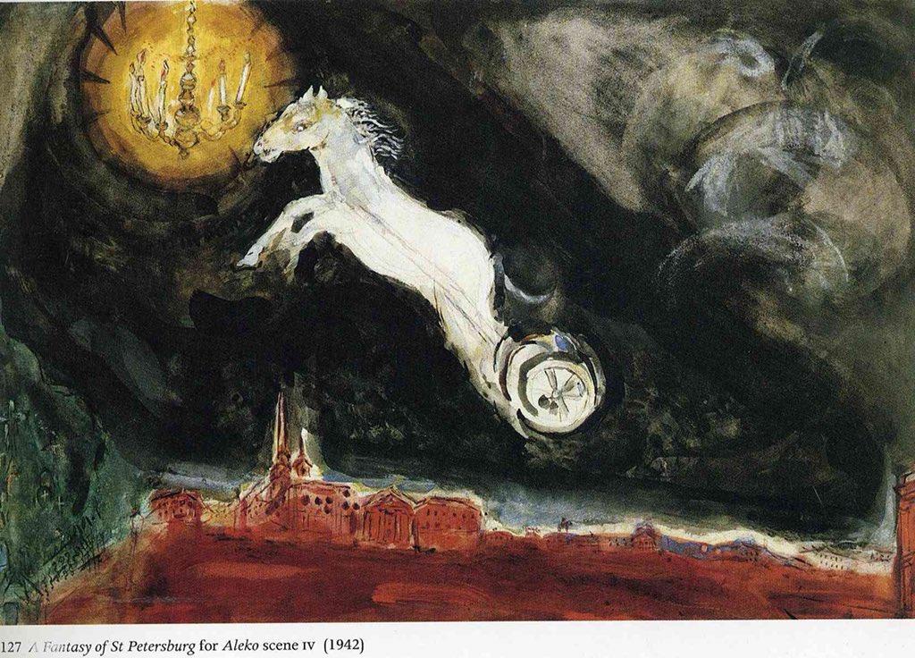 "Marc Chagall  Finale of the Ballet ""Aleko"", 1942 https://t.co/gaizWDa9ft"